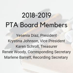 Yesenia Díaz, president; Krystina Johnson, vice president; Karen Schroll, treasurer; Renee Woody, corresponding secretary; and, Marlene Barrett, recording secretary. (3)